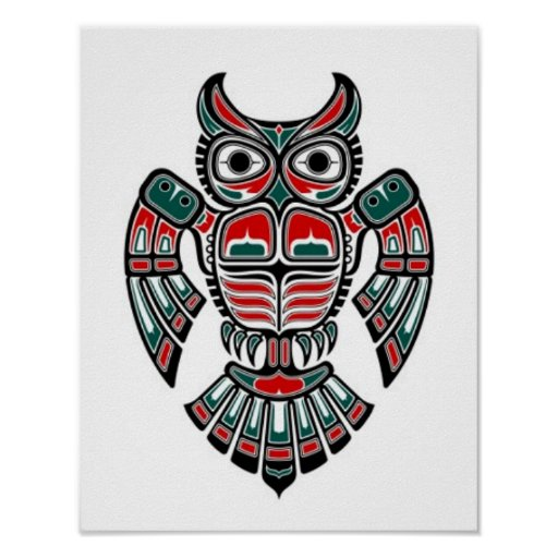 Red Blue and Black Haida Spirit Owl Poster