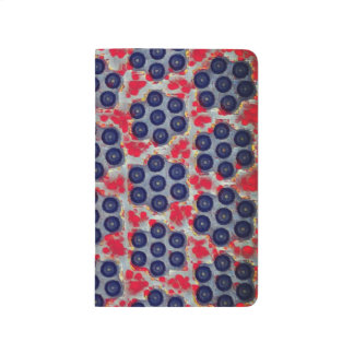 Red, Blue and Gray Dots Pattern Pocket Journal