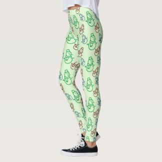 Red Blue and Green Snowman Leggings