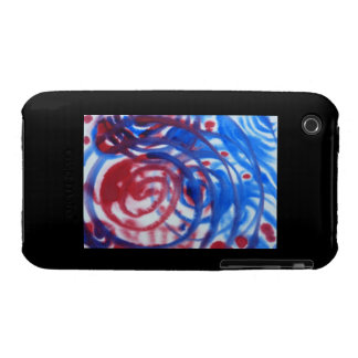 Red, Blue and Pale Gray Swirl Pattern. On Black. iPhone 3 Case