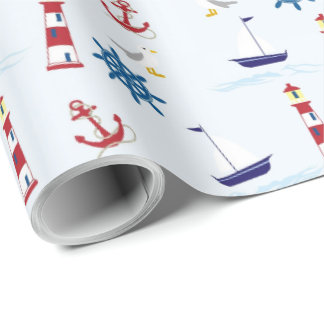 Red, Blue and White Nautical Wrapping Paper