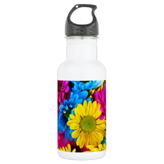 red,blue and yellow daisies beverage bottle