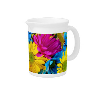 red, blue and yellow daisies pitcher