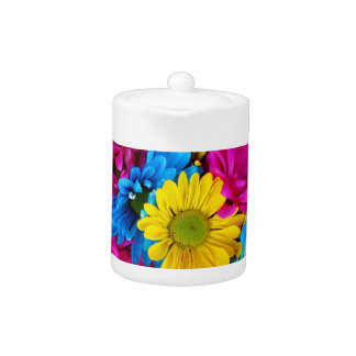 red, blue and yellow daisies tea pot