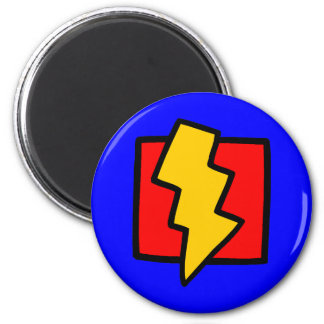 Red Blue and Yellow Lightning Bolt 6 Cm Round Magnet