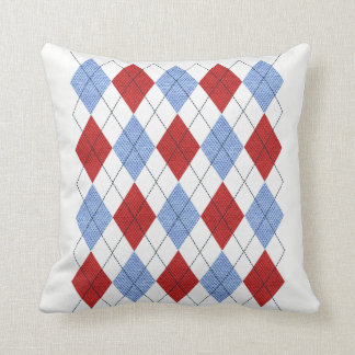 Red & Blue Argyle Diamond Design Cushion