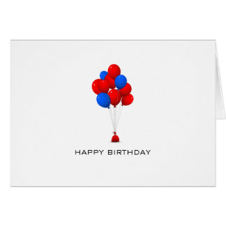 Red & Blue Balloons - Happy Birthday Greeting Card