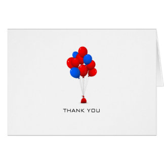 Red & Blue Balloons - Thank You Greeting Card
