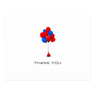 Red & Blue Balloons - Thank You Post Card