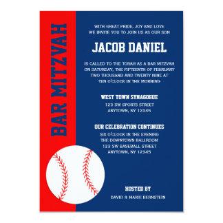 Red Blue Baseball Bar Mitzvah 13 Cm X 18 Cm Invitation Card