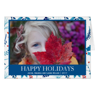 RED BLUE BERRIES  HAPPY HOLIDAYS PHOTO CARD