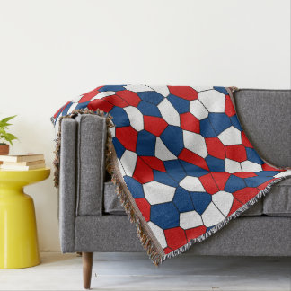 Red Blue Black Abstract Pattern Throw Blanket