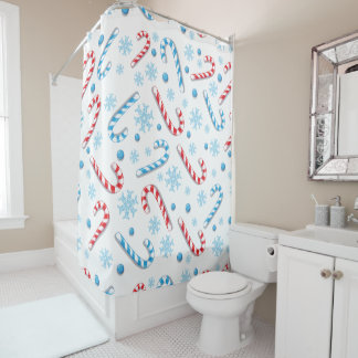 Red blue candy canes snowflakes - Christmas gifts Shower Curtain
