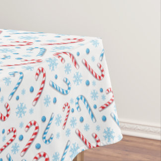 Red Blue Candy Canes Snowflakes   Christmas Gifts Tablecloth
