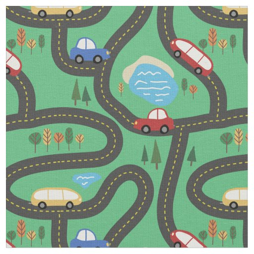 Red & Blue Cars - Kids Road Map Fabric
