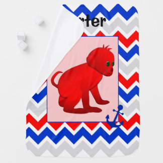 Red Blue Chevron with Baby Monkey Blanket