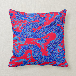 Red Blue Chinese Dragon Vintage Vase Art Cushion