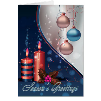 Red & Blue Christmas Candle Decorations Greeting Card