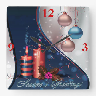 Red & Blue Christmas Candle Decorations Square Wallclocks