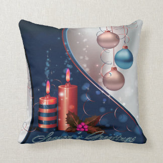 Red & Blue Christmas Candle Decorations Throw Pillow