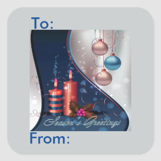 Red & Blue Christmas Candle Decorations Gift Tag Square Sticker