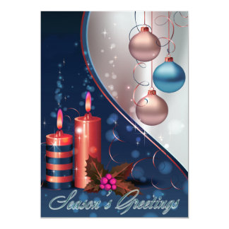 Red & Blue Christmas Candle Decorations 5x7 Paper Invitation Card