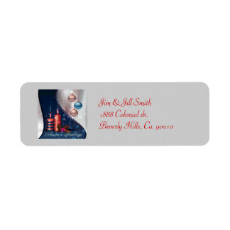Red & Blue Christmas Candle Decorations Return Address Label
