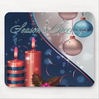Red & Blue Christmas Candle Decorations Mouse Pad