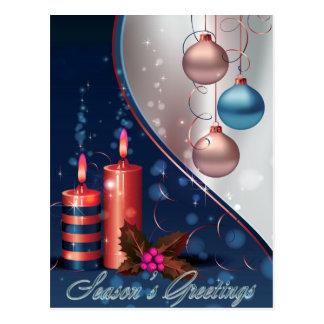 Red & Blue Christmas Candle Decorations Postcard