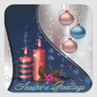 Red & Blue Christmas Candle Decorations Square Sticker