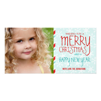 RED BLUE CHRISTMAS HOLIDAY PHOTO CARD