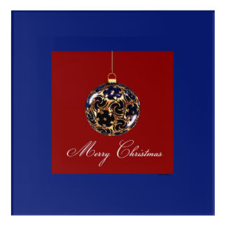 Red & Blue Christmas Ornament Acrylic Wall Art