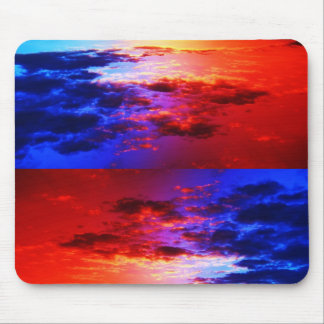 Red blue clouds mouse pad