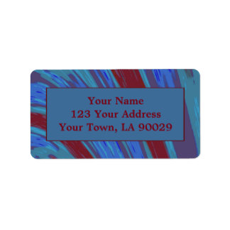 Red Blue Color Swish Abstract Address Label