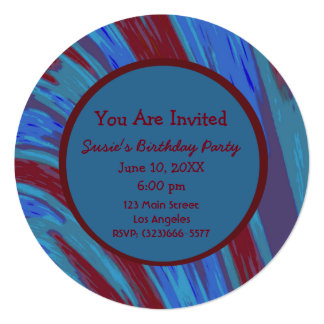 Red Blue Color Swish Abstract Birthday Card