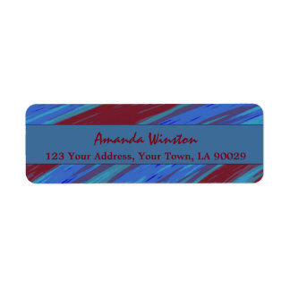Red Blue Color Swish Abstract Return Address Label
