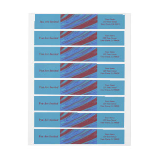 Red Blue Color Swish abstract Wraparound Return Address Label