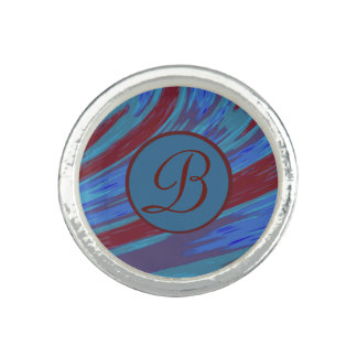 Red Blue Color Swish Monogram