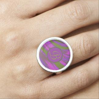 Red Blue Color Swish Monogram Ring