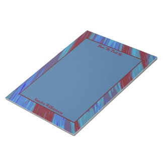 Red Blue Colour Swish Abstract Notepad
