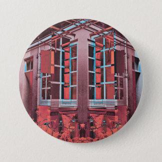 Red blue Copenhagen windows reflection digital art 7.5 Cm Round Badge