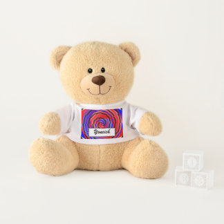 Red & Blue Counter Spiral by Kenneth Yoncich Teddy Bear