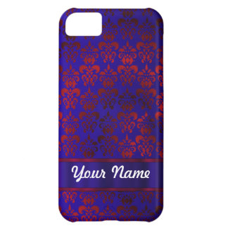 Red & blue damask swirl iPhone 5C case