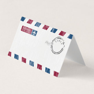 Red Blue Distressed Airmail Wedding Card