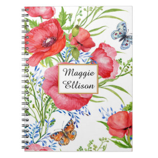 Red Blue Floral and Butterflies on White Custom Notebook