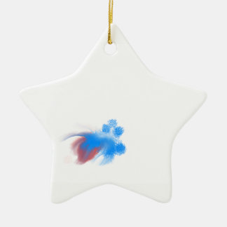 Red & Blue Fuzzy Ceramic Ornament
