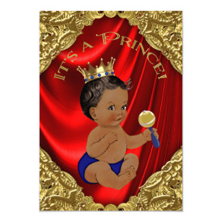 Red Blue Gold Ethnic Prince Baby Shower Card