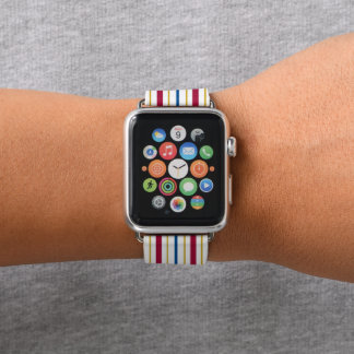 Red Blue Gold White Stripes Apple Watch Band