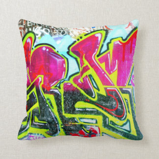 red/blue/green grafitti mural cushion