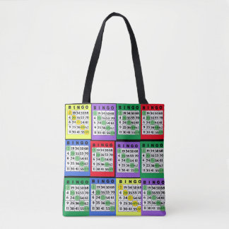 Red, Blue, Green, Purple, Yellow BINGO Cards Bag